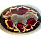 Vintage Horse in front of Fire Flame Belt Buckle