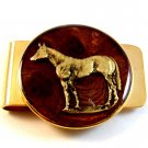 New Old Stock Golden Horse against Brown Background Money Clip