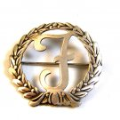 Vintage Sterling Silver Letter or Initial F in a Wreath Brooch