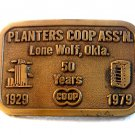 Vintage Planters Coop Ass'n Lone Wolf Ok Belt Buckle by Hit Line U.S.A.