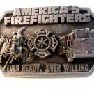 Vintage 1983 America's Firefighters Ever Ready Ever Willing Belt Buckle