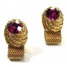 Vintage Goldtone & Light Purple Wrap Around Cufflinks Unbranded 71415