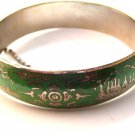 Vintage Siam Sterling Silver Light Green Niello Enamel Bangle Bracelet