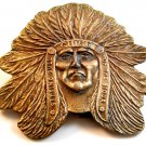 Vintage Brass Sitting Bull Chief of the Sioux Native American Belt Buckle