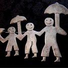 Vintage Taxco Mexican Dad Kids Boy Girl Mom Smiles Umbrellas Brooch