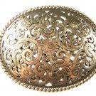 Vintage Filigree Silvertone Western Cowboy Belt Buckle Unbranded 63015