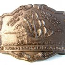 Vintage Foreign Domestic Gold Dealers Livingston Wells & Co.  Belt Buckle