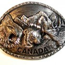 Vintage 1997 Silver Tone Canada Bear Eagle Moose Belt Buckle