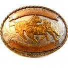 Vintage Nickel Silver Western Rodeo Cowboy Calf Roping Belt Buckle