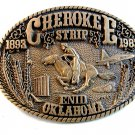 Vintage Cherokee Strip 1893 - 1993 Enid Oklahoma Brass Belt Buckle by ADM