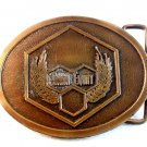 Vintage Brass Union Equity Belt Buckle by Hit Line U.S.A.