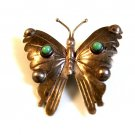 Signed Vintage Mexican Sterling Silver Turquoise Butterfly Brooch
