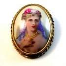 Vintage Hand Painted Portrait of a Lady Brooch Marked Limoge France