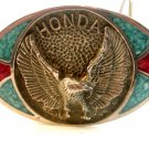 1980 Honda Silver Tone Turquoise & Coral Belt Buckle