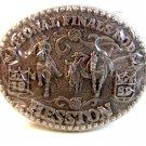 Vintage 1989 Mini National Finals Rodeo Steer Roping Belt Buckle by Hesston