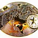 Vintage 2 Tone Texas Longhorn Map etc Belt Buckle Unbranded 62915