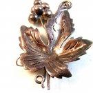 Vintage Sterling Silver Grapes Leaf Brooch