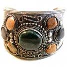Vintage Tribal Silver Tone & Stones Bracelet