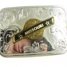 1960's - 70's Silvertone Missouri Belt Buckle Unmarked 121614
