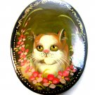 Vintage Enameled Wood Hand Painted Cat Brooch