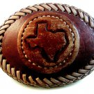 Vintage State of Texas Leather Belt Buckle by Ernesto Olivas Lasso Enterprises