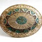 Western Heavy Silver Plate on Jewelers Bronze Belt Buckle by Crumrine #2