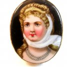 Vintage Hand Painted Porcelain Lady w/ Blue Necklace Brooch