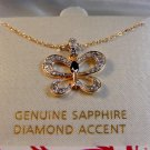 Sterling Silver & 18Kt Gold Diamond Accent Butterfly Pendant Chain