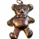 Vintage Textured Sterling Silver Teddy Bear w/ Bow Tie Pendant