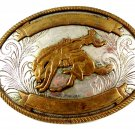 Nickel Slver Western Rodeo Cowboy Riding Wild Horse Belt Buckle 11072013
