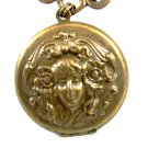 Art Nouveau Gibson Girl Copperish Locket Pendant Unmarked 102014