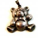 Vintage Sterling Silver Teddy Bear w/ Bow Tie Pendant