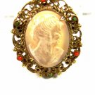 Goldtone Shell Cameo w 6 Surrounding Stones Brooch By GENO 102014