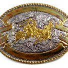 Western Silver & Gold Tone Rodeo Cowboy Calf Roping Belt Buckle 10312013