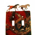 2 Wild Horses Running Double Switch Outlet Cover Plate by LaZart USA 6915