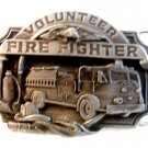 Vintage Volunteer Fire Fighter Enameled Belt Buckle
