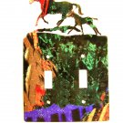 Mama & Colt Baby Horse Double Light Switch Cover Plate Steel Images USA 6815