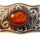 Vintage Silvertone & Stone or Plastic Western Cowboy Belt Buckle