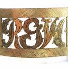 Vintage Handmade Goldtone Initial / Letters RGW Belt Buckle Unbranded 7715