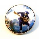 Vintage Man in Blue Playing Mandolin Brooch