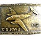 U.S. Navy C-12 Plane Solid Brass Belt Buckle 62514