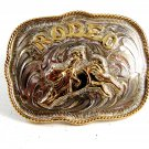 Western Cowboy Rodeo Bull Riding Belt Buckle by Silver Strike 12112013rr