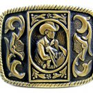 Unmarked Western Cowboy with Hat & Horse Belt Buckle 10222013