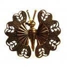 Vintage Goldtone Butterfly Brooch Unbranded 62915