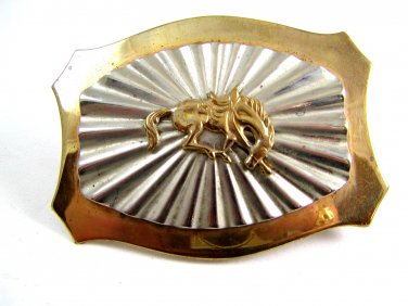 Western Cowboy Rodeo Bowing Horse 2 Tone Belt Buckle