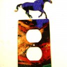 Running Wild Horse Double Outlet Cover Plate by Steel Images USA 6815DD