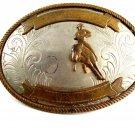 German Silver Western Rodeo Cowboy on Horse Belt Buckle 11262013