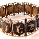 Vintage Siam Sterling Niello Dancers Elephants Bracelet