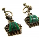 Signed Mexican Sterling Silver & Green Stone Screw Back Earrings 04212014