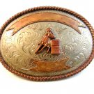 Vintage Western Rodeo Cowgirl Barrel Racing Belt Buckle